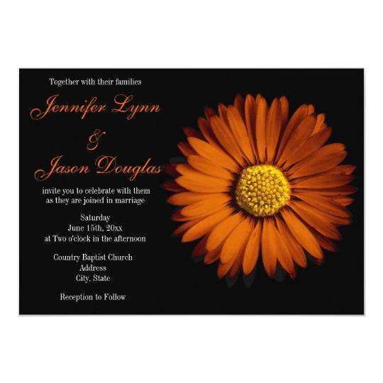 Orange Gerber Daisy Black Wedding Invitations