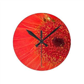 Orange Gerber Daisy Round Clock