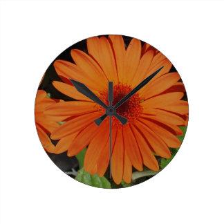 Orange Gerber Daisy Round Wallclocks