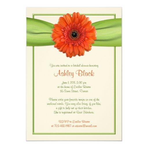 Orange Gerber Daisy Green Bridal Shower Invitation | Zazzle