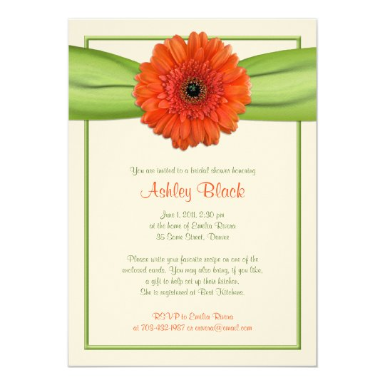 Hot Pink Gerbera Daisy White Wedding Invitation 5 X 7: Orange Gerber Daisy Green Bridal Shower Invitation