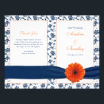 """Orange Gerber Daisy Navy Damask Wedding Program<br><div class=""""desc"""">Orange gerbera daisy (gerber daisy), navy blue and white floral damask and ribbon personalized wedding program. The text is all fully customizable. The program itself is intended to be folded down the middle when you receive it. You can change the text using the personalize option. For more extensive changes to...</div>"""