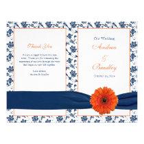 Orange Gerber Daisy Navy Damask Wedding Program