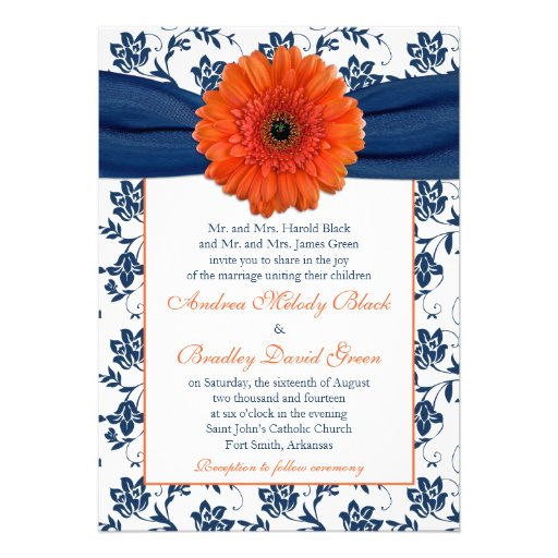 Orange Gerber Daisy Navy Floral Wedding Invitation Personalized Announcements