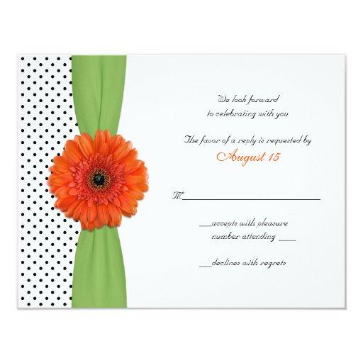 "Orange Gerber Daisy Polka Dot Reply Card 4.25"" X 5.5"" Invitation Card"