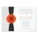 Orange Gerber Daisy Polka Dot Wedding Invitation