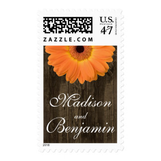 Orange Gerber Daisy Rustic Wood Personalized Stamp