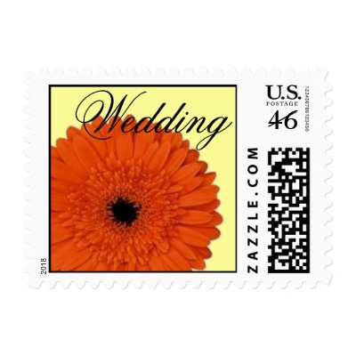 Orange Gerber Daisy Wedding Postage by JuJuGarden