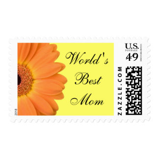 Orange Gerber Daisy World's Best Mom Stamps