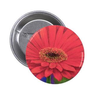 Orange Gerber Flower Painting Art - Multi Pinback Button