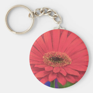 Orange Gerber Flower Painting Art - Multi Keychain