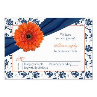 Orange Gerber Navy Blue Damask Floral Wedding RSVP Invitations