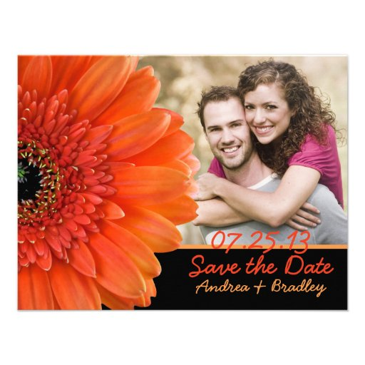 Orange Gerbera Black Photo Save the Date Card