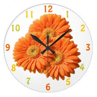 Orange Gerbera Daisies Clock