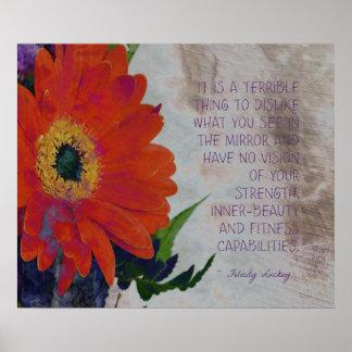 Orange Gerbera Daisy and Inner-Beauty Poster