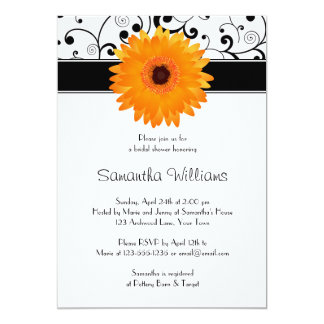 Orange Gerbera Daisy Black Scroll Bridal Shower Card