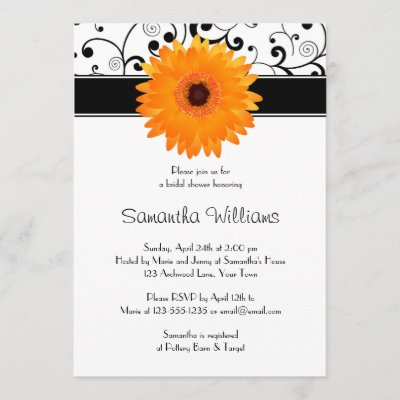 Orange Gerbera Daisy Black Scroll Bridal Shower Invitation
