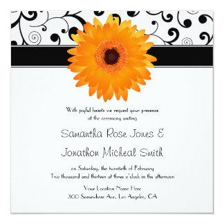 Orange Gerbera Daisy Black Scroll Design Wedding 5.25x5.25 Square Paper Invitation Card