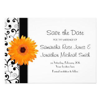 Orange Gerbera Daisy Black Scroll Save the Date Custom Invites
