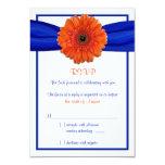 Orange Gerbera Daisy Blue Wedding Reply Card