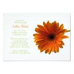 "Orange Gerbera Daisy Bridal Shower Invitation 5"" X 7"" Invitation Card"