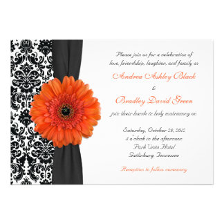 Orange Gerbera Daisy Damask Wedding Invitation