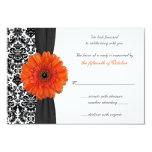 Orange Gerbera Daisy Damask Wedding Reply Card