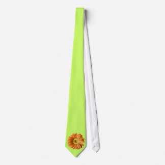 Orange Gerbera Daisy Flower Neck Tie