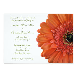 Orange Gerbera Daisy Flower Wedding Invitation