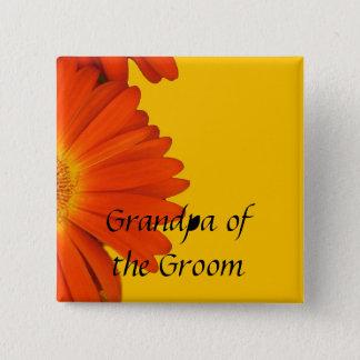 orange gerbera daisy flowers buttons. pinback button