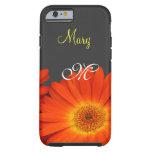 orange gerbera daisy flowers monogram case iPhone 6 case