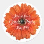 Orange Gerbera Daisy Garden Party Envelope Seal Classic Round Sticker