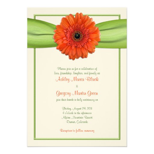 Orange Gerbera Daisy Green Wedding Invitation