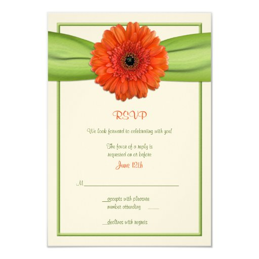 Orange Gerbera Daisy Green Wedding Reply Card