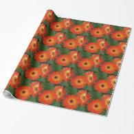 Orange gerbera daisy  holiday, birthday, Christmas Gift Wrapping Paper