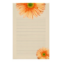 Orange Gerbera Daisy Lined Personal Writing Paper