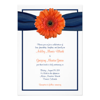 Orange Gerbera Daisy Navy Wedding Invitation Announcements