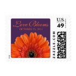 Orange Gerbera Daisy Purple Love Blooms Wedding Postage