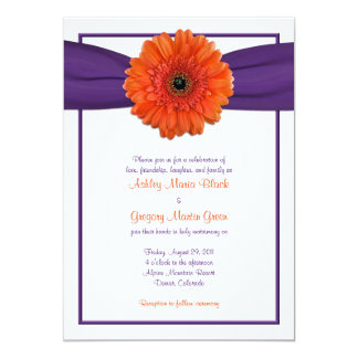 Orange Gerbera Daisy Purple Wedding Invitation