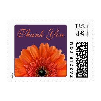 Orange Gerbera Daisy Purple Wedding Thank You Stamp