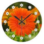 Orange Gerbera Daisy Wallclock