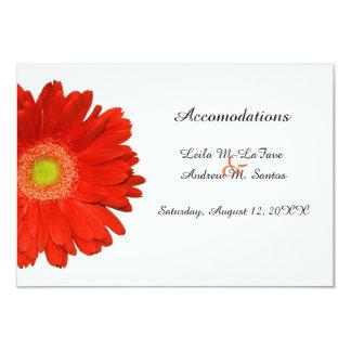 Orange Gerbera Daisy Wedding Accomodations Card