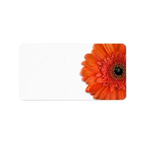 Orange Gerbera Daisy Wedding Blank Address Labels