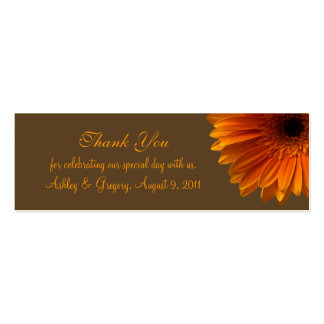 Orange Gerbera Daisy Wedding Favor Tag Double-Sided Mini Business Cards (Pack Of 20)