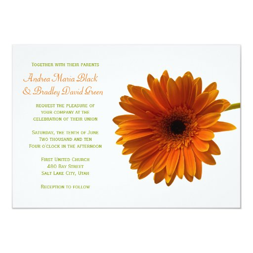 "Orange Gerbera Daisy Wedding Invitation 5"" X 7"" Invitation Card"