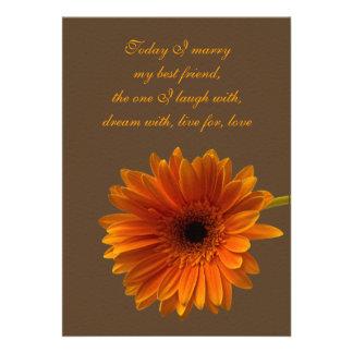 Orange Gerbera Daisy Wedding Invitation - Brown