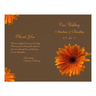 Orange Gerbera Daisy Wedding Program