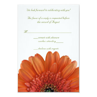 Orange Gerbera Daisy Wedding Reply RSVP Card