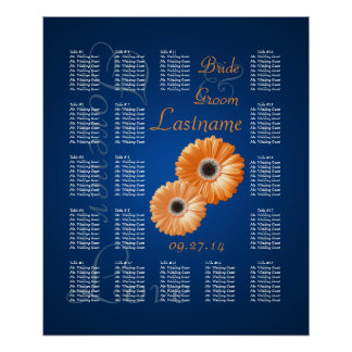 Orange Gerbera Daisy Wedding Seating Chart Poster