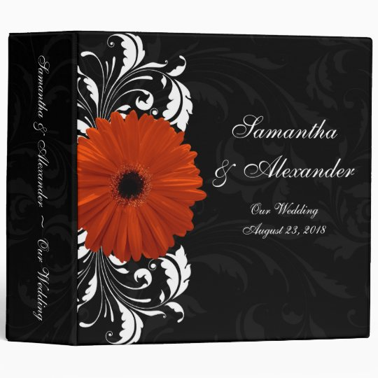 Orange Gerbera Daisy with Black and White Scroll 3 Ring Binder